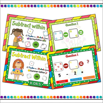Subtracting within 5 Seasons Powerpoint Game Bundle