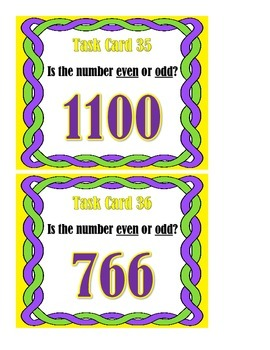 Even or Odd Numbers to 1200 - Task Cards