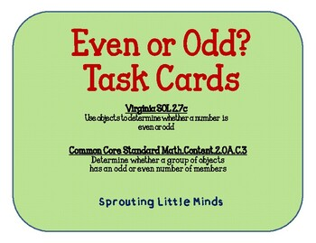 Even or Odd Picture Task Cards: SOL 2.7c & CCSM.2.OA.C3