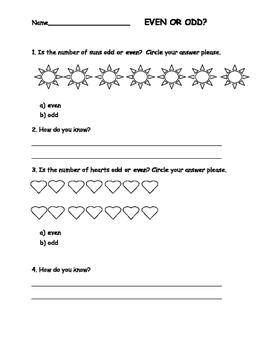 Even or Odd Quick Assessment/Worksheet