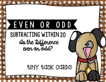 Even or Odd Simple Subtraction (Subtracting within 20) Tiny Task Cards