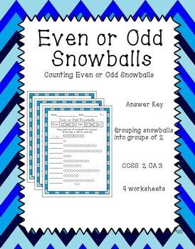 Even or Odd Snowballs Worksheet- 2.OA.3