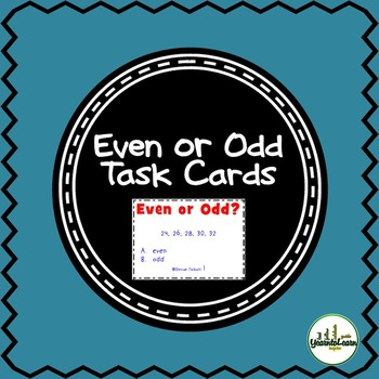 Even or Odd Number Sense Task Cards