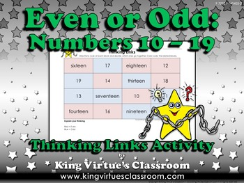 Even or Odd Thinking Links Activity #2 Numbers 10-19 - King Virtue