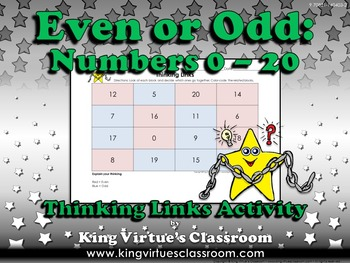 Even or Odd Thinking Links Activity #3 Numbers 0-20 - King Virtue
