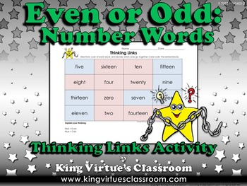 Even or Odd Thinking Links Activity #4 Numbers Words 0-20 - King Virtue
