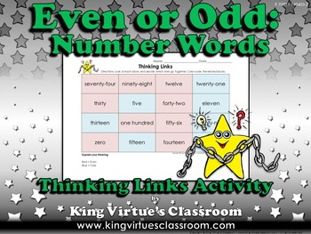 Even or Odd Thinking Links Activity #5 Numbers Words 0-100 - King Virtue