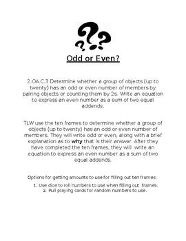 Even or Odd to Twenty (2.OA.C.3)