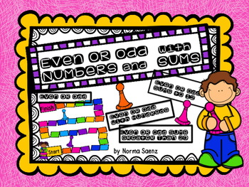 Even or Odd with Numbers and Sums Partner Game Boards