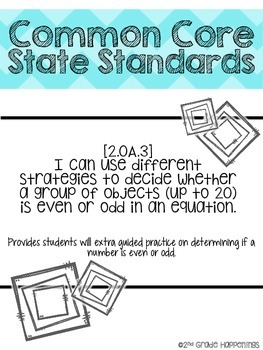 Even/Odd Activity packet -  CCSS aligned - 2nd grade