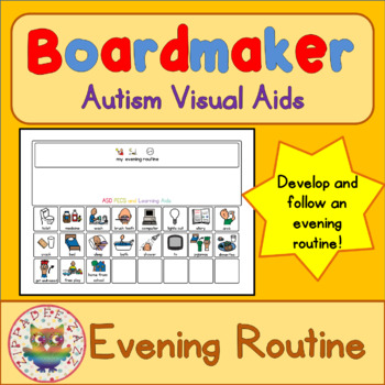 Evening Routine Board and Cards - Boardmaker Visual Aids for Autism