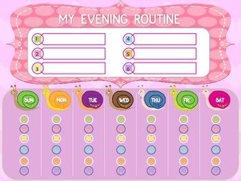 Evening Routine Chart - Pink Version
