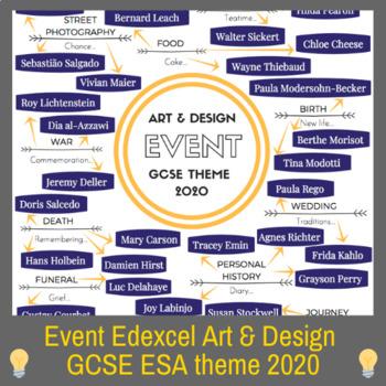 Event - GCSE Art theme mind-map interactive artist links Edexcel 2020