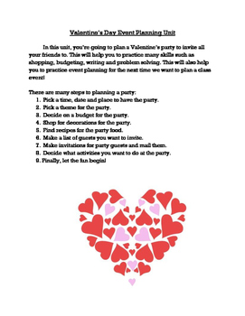 Event Planning and Budgeting Unit (Valentine Party Edition)