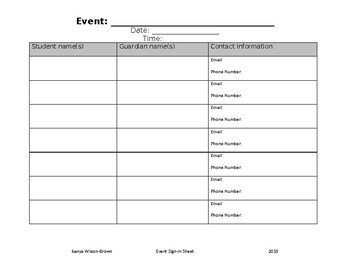 Event Sign-In Sheet