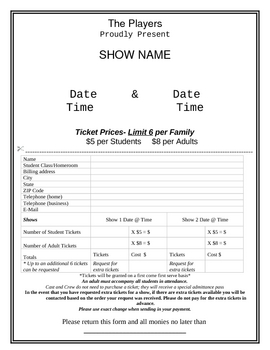 Event Ticket Sale Form