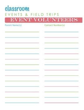 Events Field Trip Volunteer List