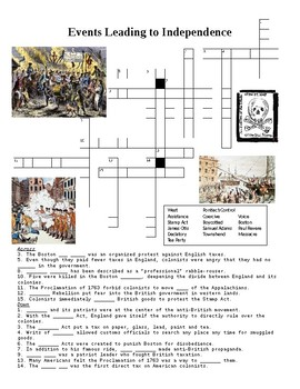 Events Leading to American Independence Crossword Puzzle or Web Quest