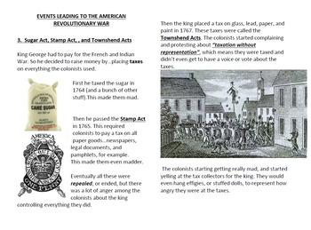 Events Leading to American Revolutionary War