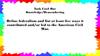 Events Leading to Civil War Task Cards