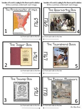 Events Leading to the American Revolution - Reading and Graphic Organizer