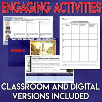 Events Leading to the Revolutionary War Full Unit Bundle Assessment and Inquiry