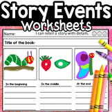 Events of a Story Sequence Story Elements Worksheet Kindergarten