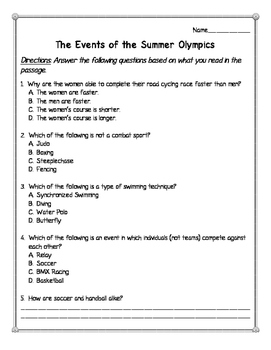 Events of the Summer Olympics Reading Comprehension