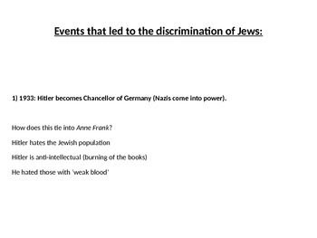 Events that led to the Discrimination of German Jews (Anne Frank)