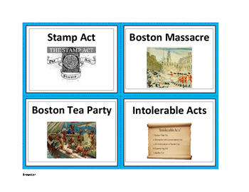 Events that led to the Revolutionary War Sort