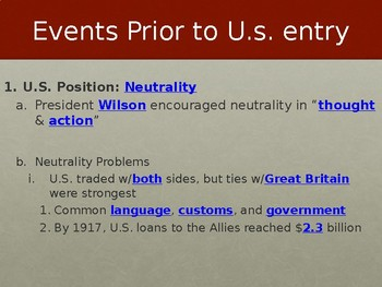 Events to US Entry into WWI PowerPoint Lecture