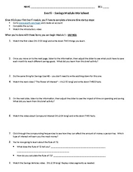 everfi financial literacy personal finance worksheet module 1