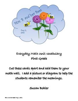 Everyday Math Vocabulary Cards First Grade