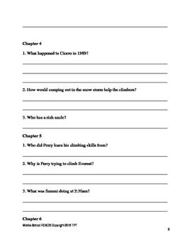 Everest 3 Book Bundle Pack Gordon Korman Comprehension Questions