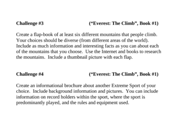 """Everest: The Contest (book 1)"", by G. Korman, Challenges"