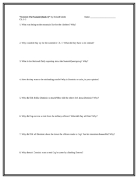 """""""Everest: The Summit (book 3)"""", by G. Korman, Comprehension Questions"""