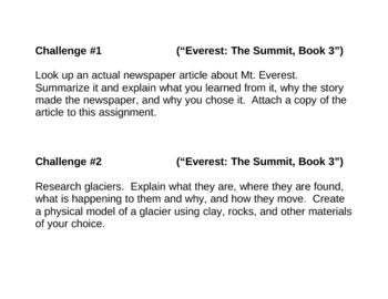 """Everest: The Summit (book 3)"", by G. Korman, Project Challenges"