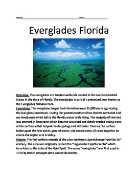 Everglades Florida - Lesson History Facts Questions Vocab Review