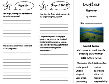 Everglades Forever Trifold - Journeys 5th Grade Unit 2 Week 3 (2014, 2017)