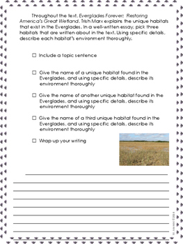 Everglades Forever-Writing Prompt-Journeys Grade 5--Lesson 8