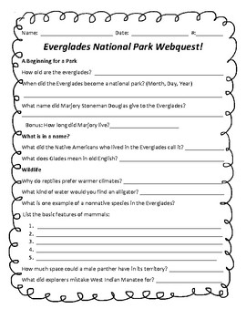 Everglades national park teaching resources teachers pay teachers everglades national park webquest everglades national park webquest publicscrutiny Image collections
