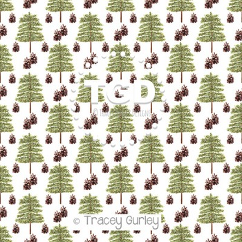 Evergreen Tree and Pine Cone Repeat on White digital paper Printable