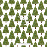 Evergreen Tree on White digital paper Printable Tracey Gurley Designs
