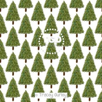 Evergreen Tree on White digital paper Printable Tracey Gur