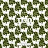 Evergreen Tree Pattern on White digital paper Printable Tracey Gurley