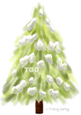 Evergreen Tree with Snow, evergreen clip art, Printable Tracey Gurley Designs