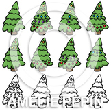 Evergreen Trees Clip Art (for counting)