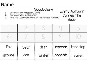 Every Autumn Comes the Bear ~ 39 pgs. of Common Core Activities