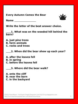 Every Autumn Comes the Bear Literacy Unit