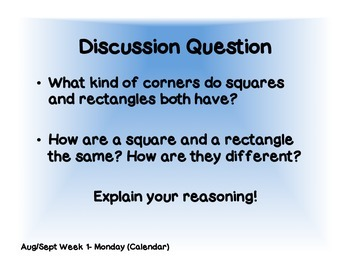 Every Day Counts Calendar Math August/September Discussion Questions